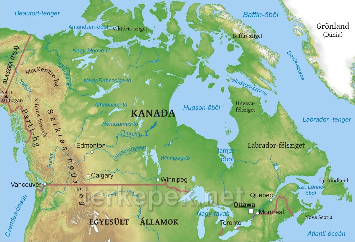 Kanada térkép